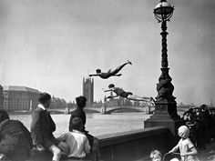 Diving into the Thames, London, 1934