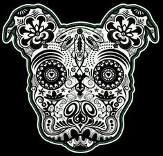 Sugar skull pitbull dia de los muertos tattoo idea. Lacey's birthday is 11/1.. Dia day :)
