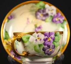Limoges-France-Hand-Painted-Cup-and-Saucer-with-Dragon-Handle-Gold-Gilt-Signed
