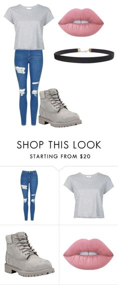 """Untitled #168"" by cruciangyul on Polyvore featuring Topshop, RE/DONE, Timberland, Lime Crime and Humble Chic"