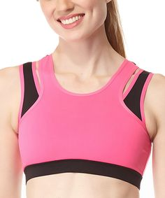 Central Park Active Neon Fuchsia & Black Colorblock Double-Layer Sports Bra by Central Park Active #zulily #zulilyfinds