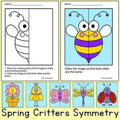 Practice symmetry by drawing and coloring these fun spring critters! Perfect for math centers, early finishers and homework. This fun activity includes 6 characters: a bee, a flower, a butterfly, a ladybug, a bird and a dragonfly. Each character has three levels of difficulty.