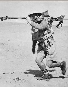 British soldier with anti-tank gun Boys on maneuvers in the desert. Egypt, 1940