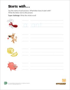 LeapFrog Printable: Starts with …