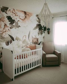 blush pink and green vintage floral nursery with floral wallpaper - Floral Nursery Ideas, Baby Bedroom, Nursery Room, Girl Nursery, Nursery Decor, Nursery Ideas, Nursery Murals, Kindergarten Wallpaper, Nursery Wallpaper, Wallpaper Murals
