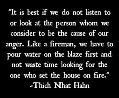 """""""It is best if we do not listen to or look at the person whom we consider to be the cause of our anger. Like a fireman, we have to pour water on the blaze first and not waste time looking for the one who set the house on fire."""" ~ Thich Nhat Hanh ॐ lis Great Quotes, Me Quotes, Motivational Quotes, Inspirational Quotes, Attitude Quotes, Funny Quotes, Buddhist Quotes, Spiritual Quotes, Spiritual Awakening"""