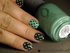 Look at those perfectly placed dots!!! Orly Ancient Jade & OPI Get In The Expresso Lane