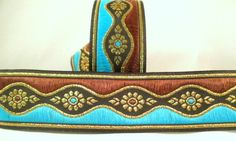 ~10m BROWN/TURQUOISE/GOLD/BLACK JACQUARD BRAID/RIBBON 37mm