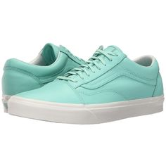 Vans Old Skool Pastel Pack Ice Green Blanc de Blanc Skate Shoes 70   liked on Polyvore featuring shoes       breathable leather shoes       real leather  shoes