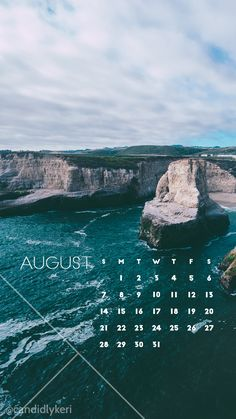 Ocean cliff pretty background August calendar 2016 wallpaper you can download for free on the blog! For any device; mobile, desktop, iphone, android!