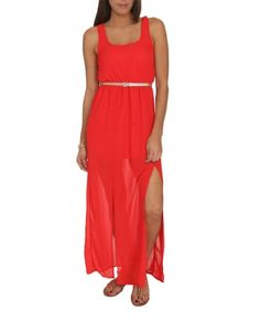 Wet Seal Womens Chiffon Belted Maxi Dress