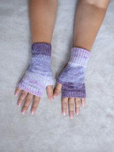 Purple angora wristwarmers thin knit by TinyOrchidsCrochet on Etsy