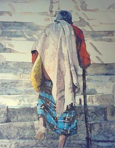 Gandi   Watercolor on paper  30x22cm 2011.  João Feijó Fine Art.