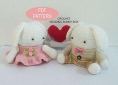 Crochet Wedding Bunny Box PDF Pattern,  patterns&tutorials, diy crochet pattern, crochet wedding gift