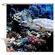 Sea Turtle Shower Curtain. A colorful underwater scene with coral and a sea turtle. Sure to delight the scuba diver,  marine biologist or nature lover.