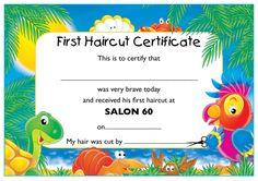 my haircut certificate an award certificate to present to a baby after his or 3519