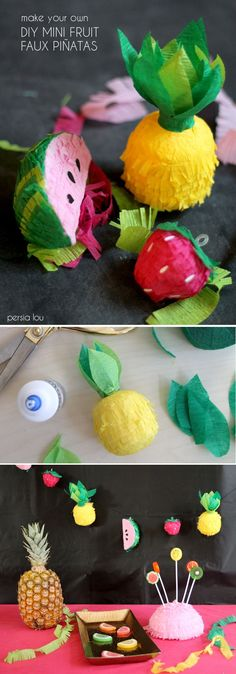 How to make a cute fruit garland made from mini faux pinatas! Perfect for Cinco de Mayo or any summer party