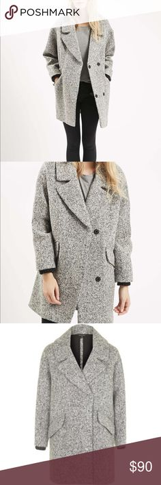 Tooshop Grey Wool Blend Coat barley worn / size eur 40 us 8 uk 12 / dry cleaned / in perfect condition Topshop Jackets & Coats