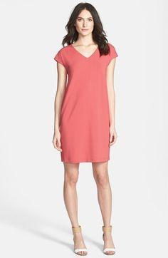 Eileen Fisher V-Neck Cap Sleeve Shift Dress (Regular & Petite)
