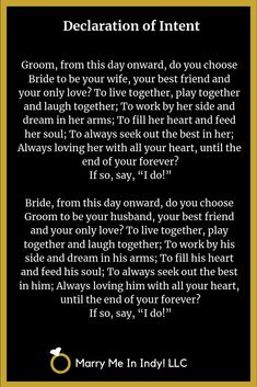 Declaration of Intent and Wedding Vows for your wedding ceremony. Pagan Wedding, Our Wedding, Dream Wedding, Wedding Ideas, Wedding Quotes, Wedding Rustic, Wedding Pictures, Wedding Bells, Wedding Details