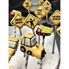 Construction Signs and Trucks (Cake Pops)