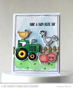 Handmade card from Audrey Tokach featuring the Farm-tastic stamp set and DIe-namics and Farm Fence Die-namics #mftstamps