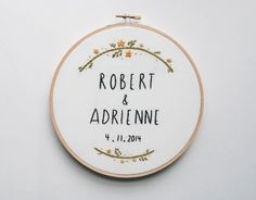 Wedding Hoop Art Custom Embroidery by KitschAndStitchNY on Etsy