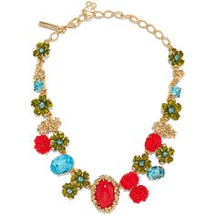 Oscar de la Renta Gold-plated, Swarovski crystal and resin necklace ($720) ❤ liked on Polyvore featuring jewelry, necklaces, gold, swarovski crystals jewelry, gold plated jewellery, rose necklace, oscar de la renta necklace and swarovski crystal necklace