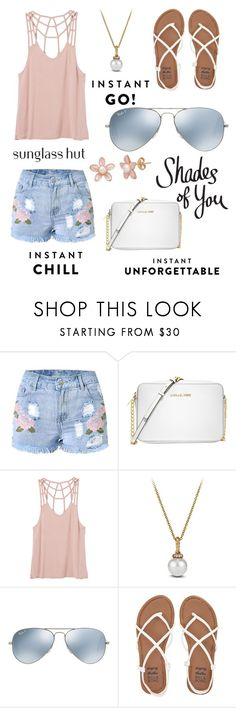 """""""Shades of You: Sunglass Hut Contest Entry"""" by nicole-sims ❤ liked on Polyvore featuring Michael Kors, RVCA, David Yurman, Ray-Ban and Billabong"""