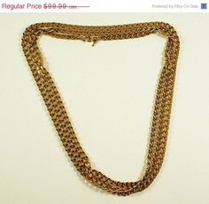 """30% OFF SALE Beautiful Vintage CROWN Trifari """"Roaring 30's"""" Iconic Flapper Style Extremely Long Linked Gold Tone Chain by ClevelandFinds on Etsy"""