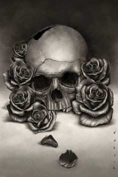 Wanted to paint a more realistic skull. Painted in PS, and only used one texture brush for the skull and roses, and a different one for the background. Wanted to see if I could with limited brushes...