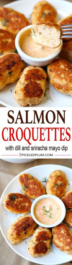 Healthy Salmon Croquettes Recipe with Tangy Dill and Sriracha Dipping Sauce. Light, Tasty and only 20 minutes to make!| pickledplum.com Source by artfunstudio