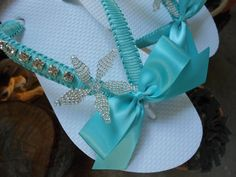 Bridal Flip Flops -  Tiffany blue bridal flip flops, starfish flip flops, macrame flip flops, wedding flip flops, bridal shoes. $50.00, via Etsy.