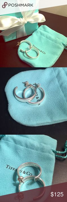 """Tiffany & Co. Hoop Earrings. 925 Sterling Silver, 1"""" coin edge hoops. Comes with original packaging; box and pouch. Tiffany & Co. Jewelry Earrings"""