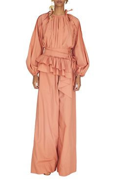 Cleo Tie-Accented Cotton-Poplin Blouse by ULLA JOHNSON for Preorder on Moda Operandi Ulla Johnson, Wide Leg Pants, Poplin, My Style, Cotton, Fashion Design, Outfits, Collection, Spring Summer