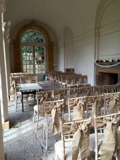 Hessian chair sashes at Hestercombe Gardens