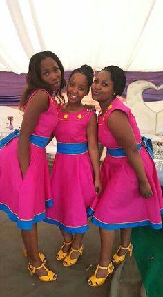 zulu traditional attire 2019 for black women - shweshwe ShweShwe 1 African Wedding Dress, African Print Dresses, African Dresses For Women, African Attire, African Wear, African Women, African Prints, Xhosa Attire, Wedding Dresses