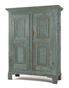 Maine painted pine wall cupboard, ca. 1800.