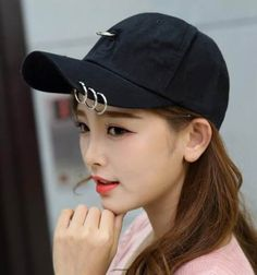 Black baseball cap with metal ring for women UV protection sun hats 1482a85dd35