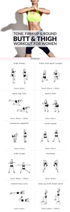 Tone, firm and round your lower body with this butt and thigh workout for women. 10 exercises that will thoroughly engage your glutes and thighs for an effective burnout style routine! http://www.spotebi.com/workout-routines/butt-thigh-workout-women/