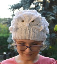 white Owl Hedwig Crocheted knitted gray owl cap hat by DosiakStyle