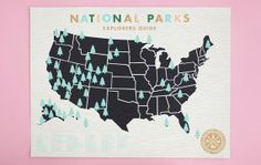 National Parks Checklist Map Print PreOrder  18x24 by ElloThere, $45.00