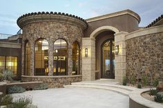 mediterranean style homes exterior Mediterranean Front Doors, Small Mediterranean Homes, Mediterranean Architecture, Mediterranean Design, Style Villa, Classic House Design, Tuscan House, Luxury Homes Dream Houses, Dream Homes