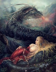 """Kroll and Jaey"" by Arantza Sestayo "" - Dragon and maiden Beautiful Fantasy Art, Dark Fantasy Art, Dark Art, Fantasy Images, Fantasy Women, Fantasy Pictures, Mythology Books, Dragon Dreaming, Wolf"