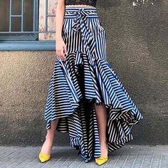 Boho Ruffle Asymmetrical Long Skirt Women Summer Blue Striped High Waistmodkily skirt skirt skirt skirt outfit skirt for teens midi skirt Midi Rock Outfit, Pencil Skirt Outfits, Long Skirts For Women, Long Skirt Outfits For Summer, Stripe Skirt, Ruffle Skirt, Striped Skirt Outfit, Dress With Bow, Ladies Dress Design