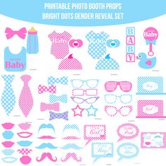 Instant Download Baby Gender Reveal Bright Dots Printable Photo Booth Prop Set — Amanda Keyt DIY Photo Booth Props & More!