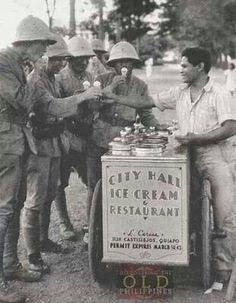 Japanese soldiers buy ice cream from a Filipino vendor in occupied Manila ( 1942 ) Filipino Art, Filipino Culture, Philippines Culture, Manila Philippines, Old Photos, Vintage Photos, Historical Photos, World War, Nostalgia
