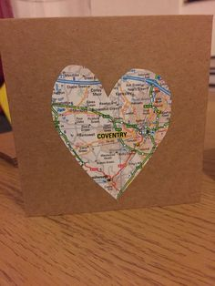 Coventry heart map card for valentines  www.etsy.com/shop/sewinlovebymadiacom