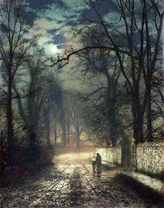 John Atkinson Grimshaw, A Moonlit Lane Canvas Box Art or Print ++ - Kunstfotografie Atkinson Grimshaw, Wow Art, Fine Art, Nocturne, Oeuvre D'art, Les Oeuvres, Painting & Drawing, Moonlight, Amazing Art