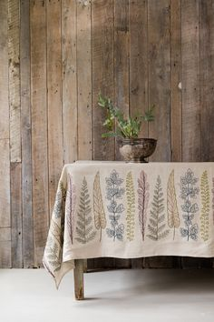 Coral & Tusk - embroidered Plants Border fabric tablecloth